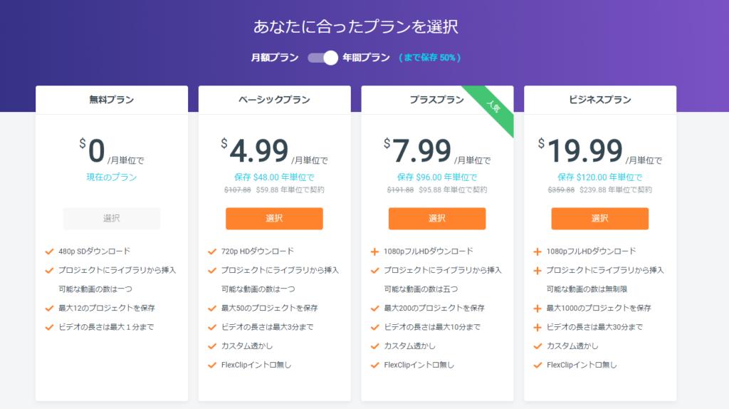 https://www.flexclip.com/jp/pricing.html より引用